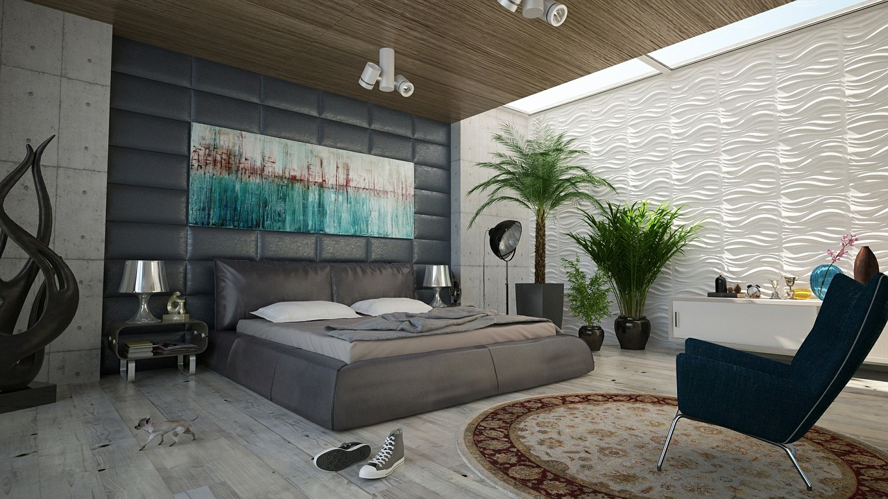 Modern bedroom with plants, area rug and gray converse high top sneakers on the floor