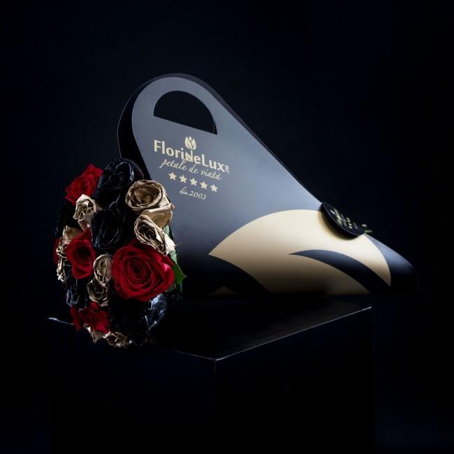 buchete cu trandafiri negri si aurii, flori de toamna
