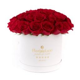Cutii cu flori de la FlorideLux, Trandafiri rosii in cutie de lux, doar 559,99 RON!