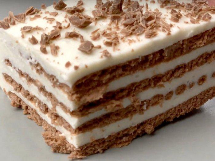 Нежнейший творожный десерт с печеньем и кофе