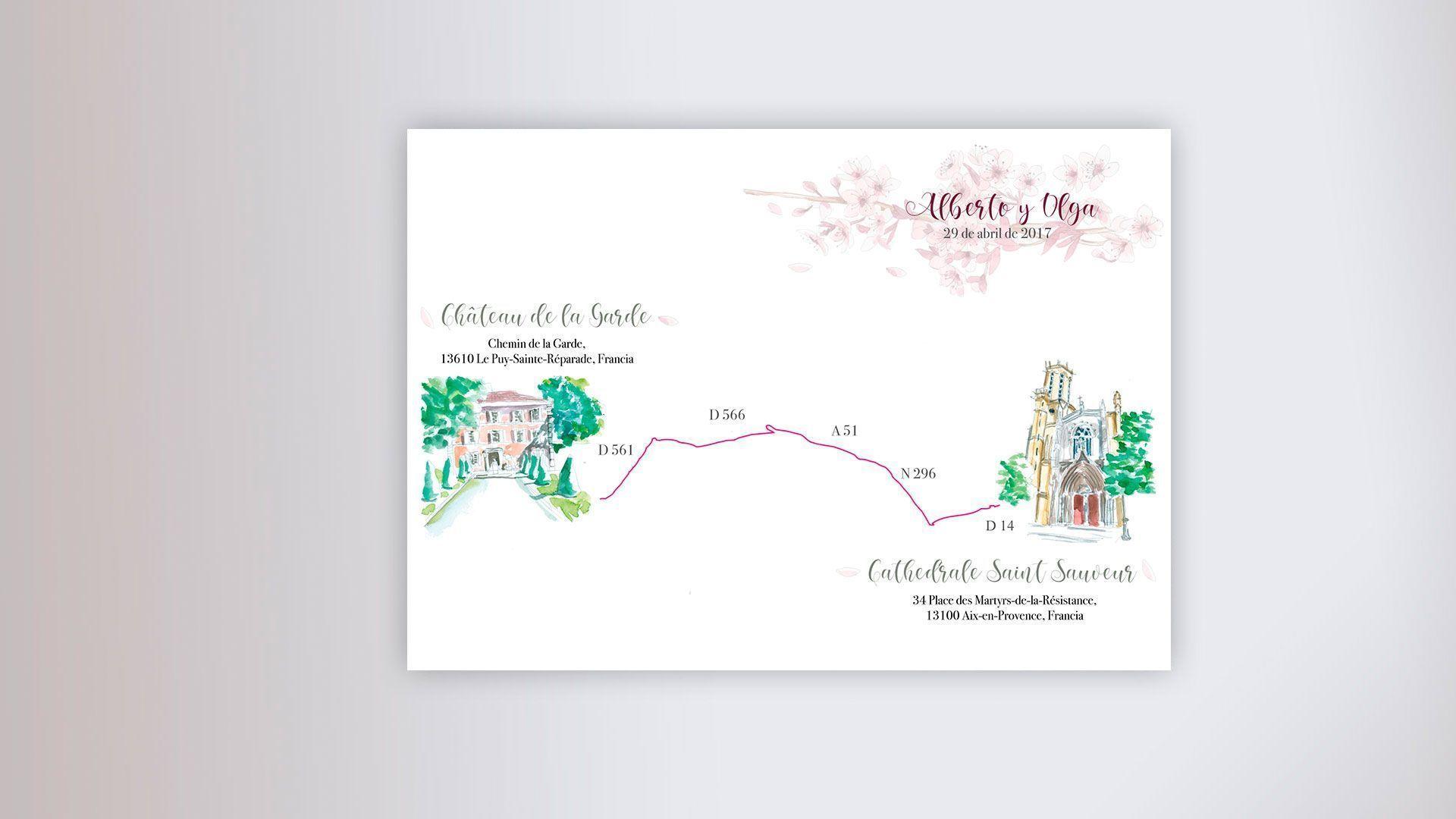 Mapa acuarela dibujos invitación boda