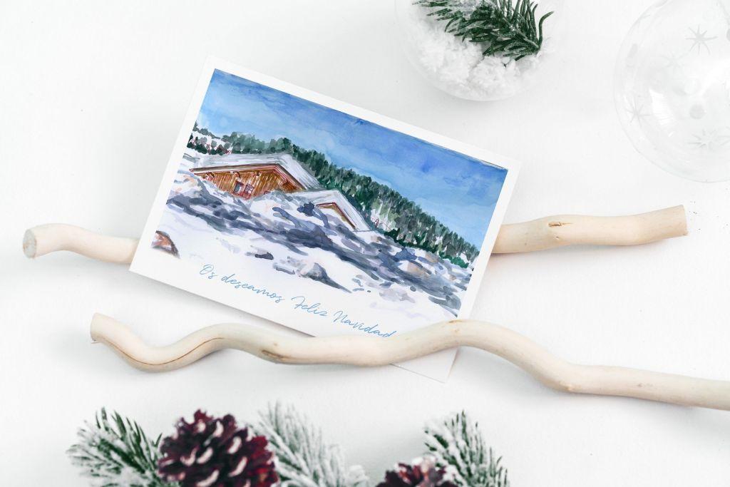 postal navidad acuarela dos terrones
