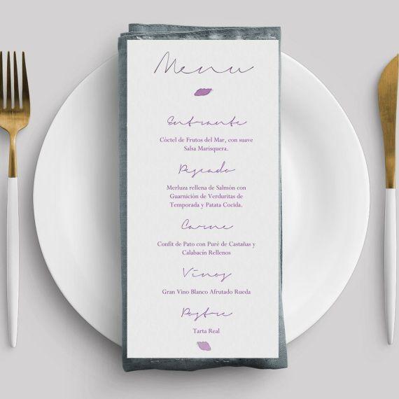 menu flor desdibujada morada boda