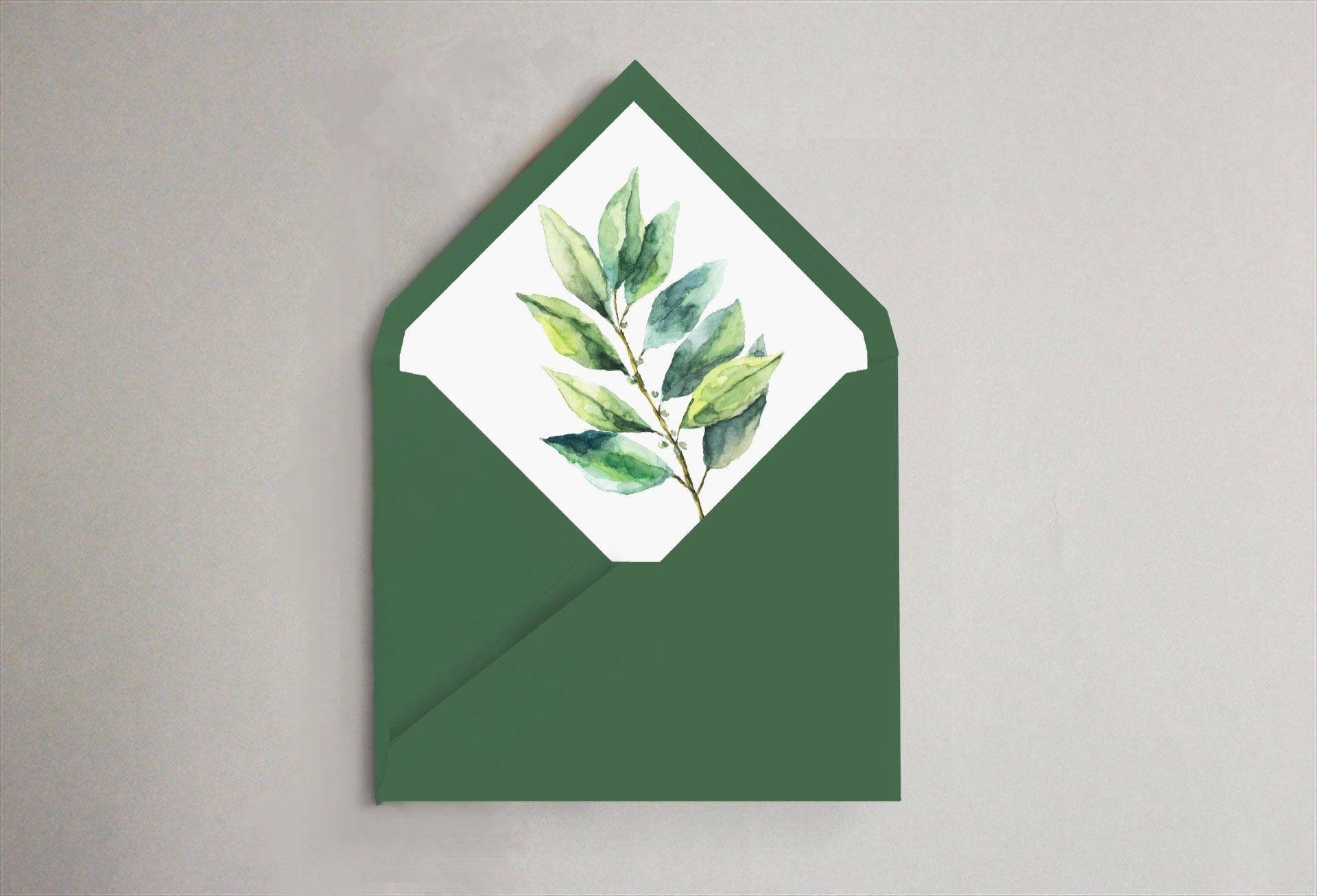 sobre verde hoja invitación boda forrado