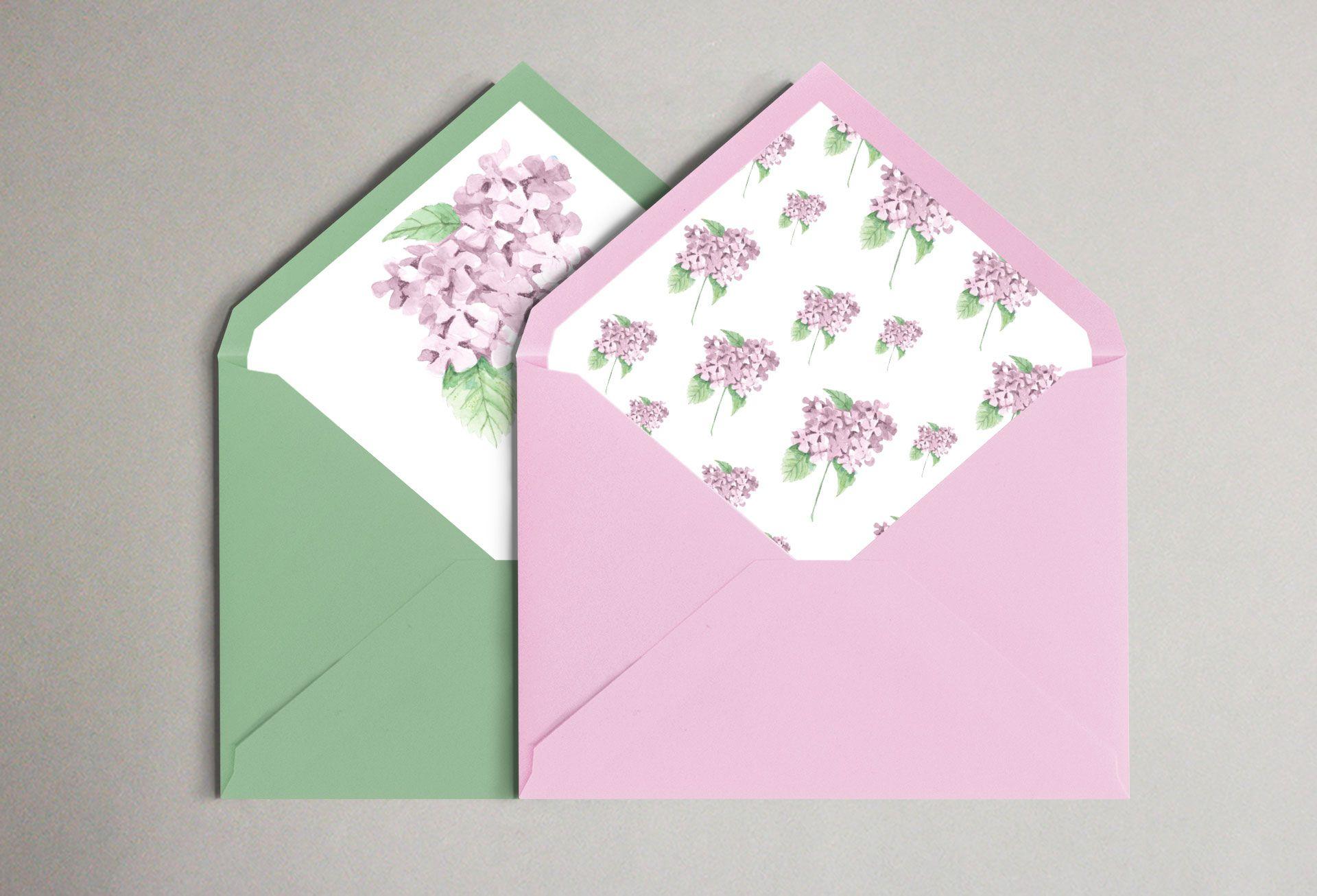 sobres hortensia rosa boda
