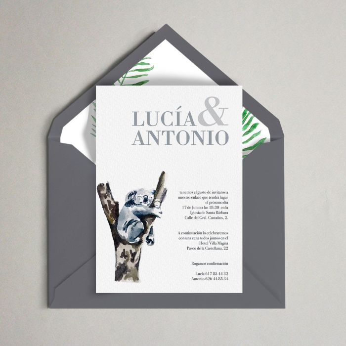 invitación koala boda bambu