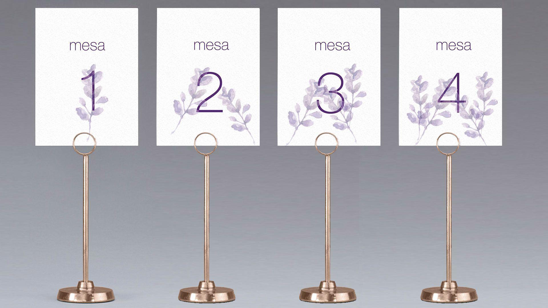 meseros mesa lavanda flor acuarela