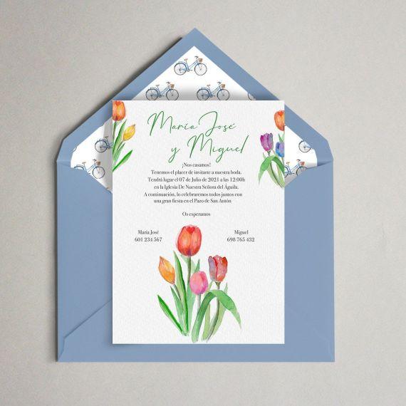 invitación tulipanes bicis sobre boda