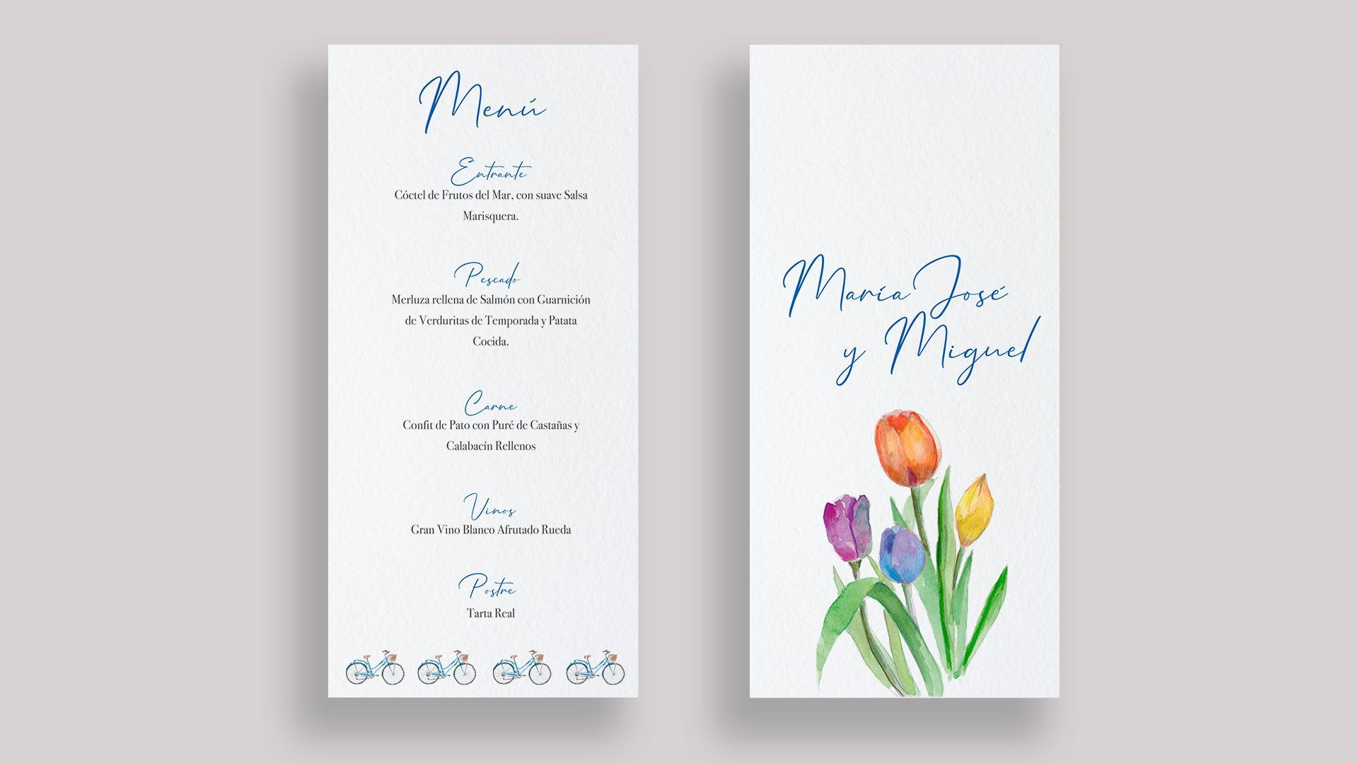 menu minuta boda bicis tulipanes