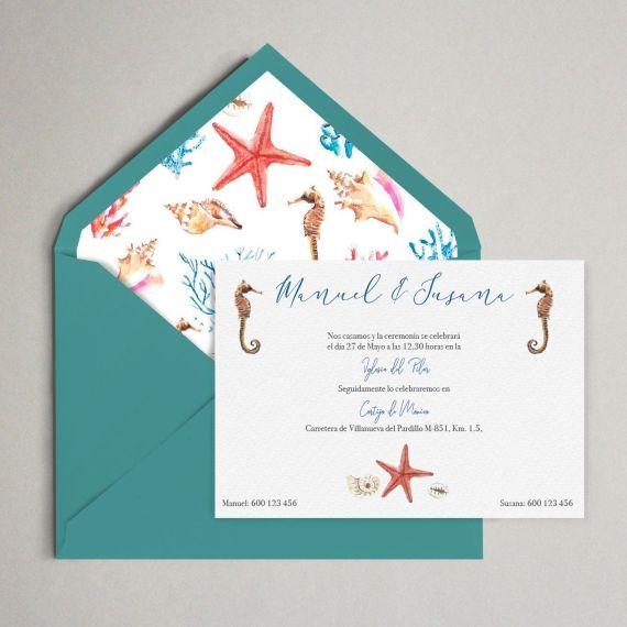 invitación boda fondo marino mar acuarela