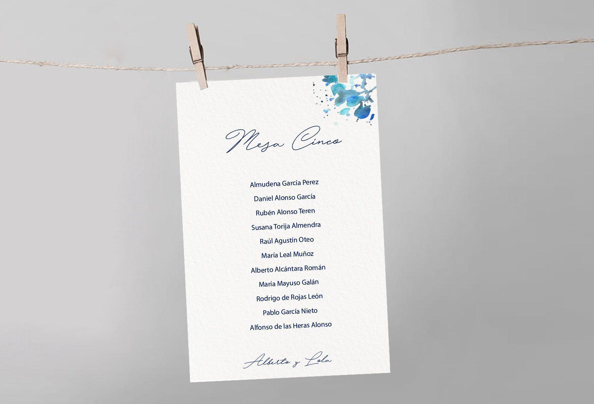 seating boda mesa abstracta mancha azul