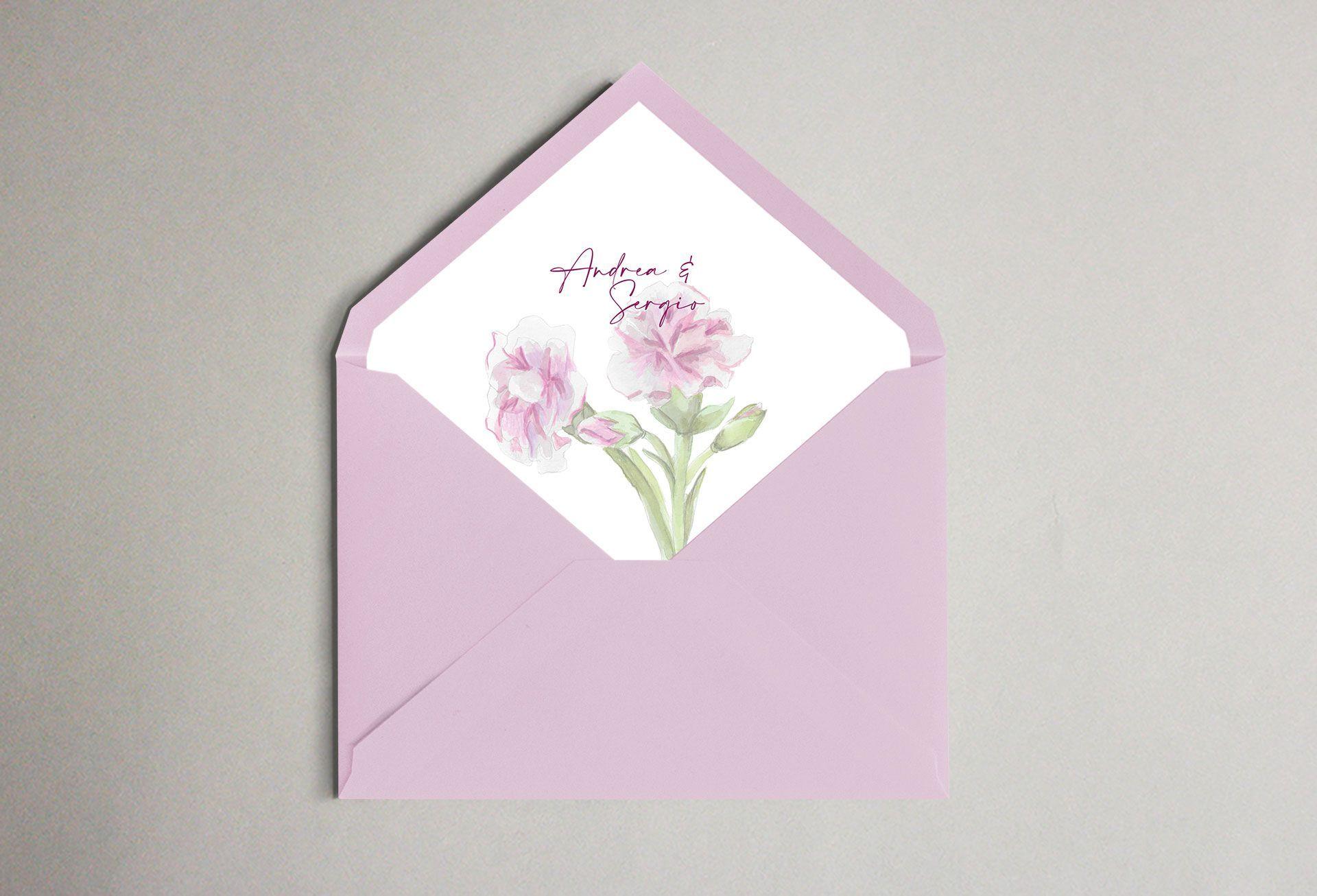 Invitación claveles flor boda sobre forrado