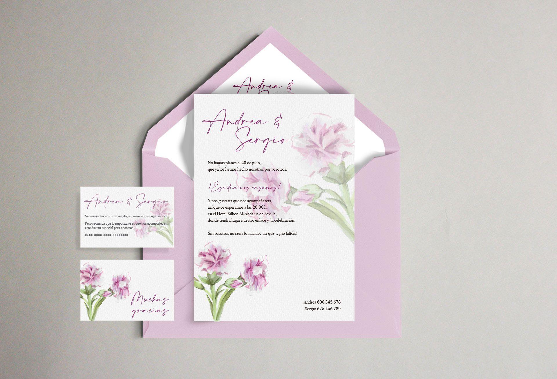 Invitación claveles flor boda