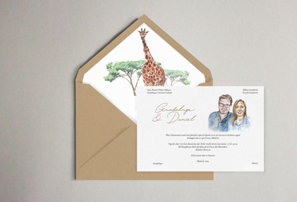 invitacion con retrato y sobres forrados boda sudafrica