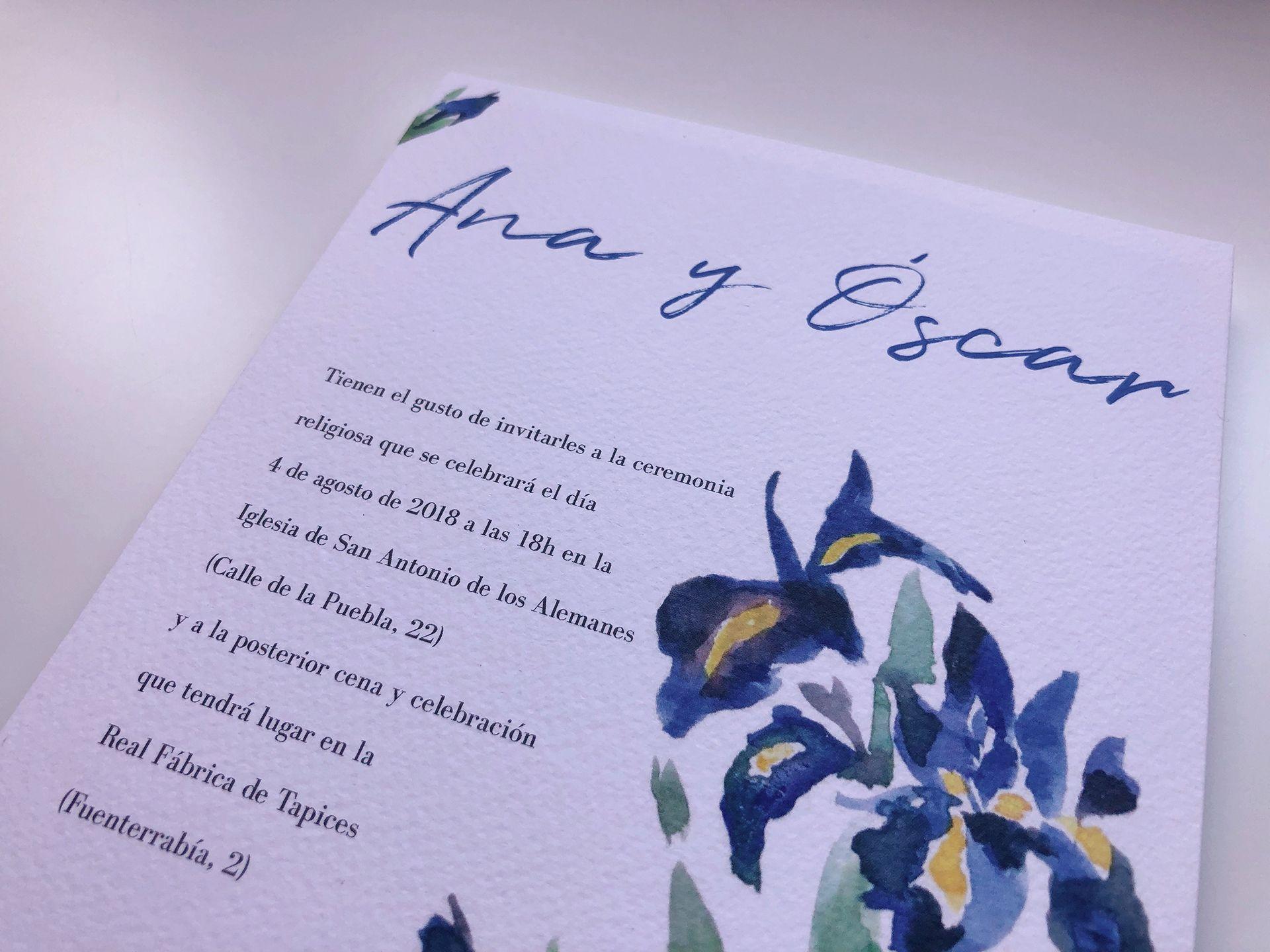 invitacion de boda con acuarela artesanal