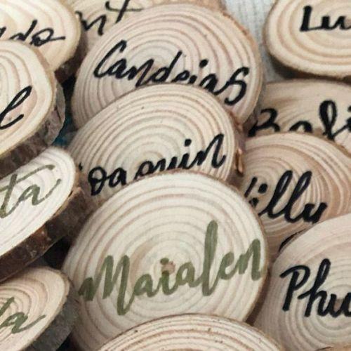 marca sitios rodajas de madera personalizadas