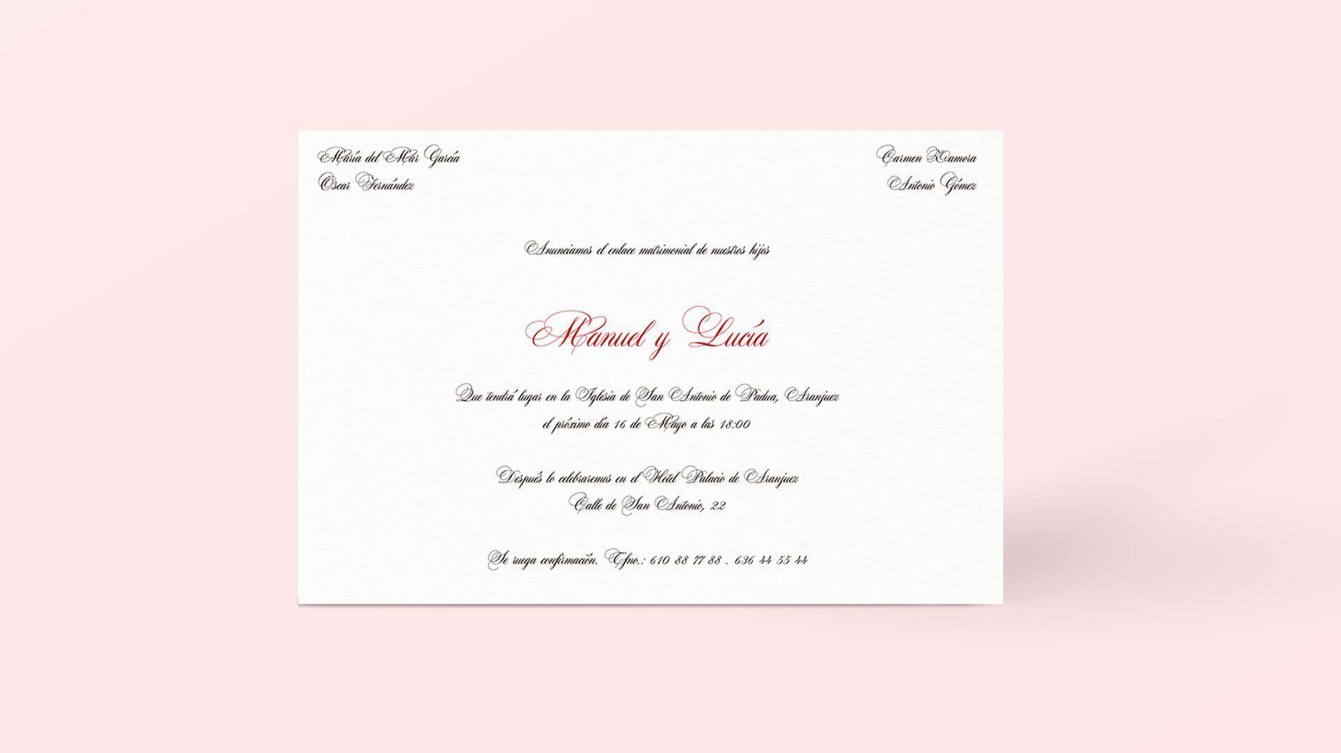 invitacion de boda dos terrones con pattern de acuarela fresas de aranjuez clasica y moderna