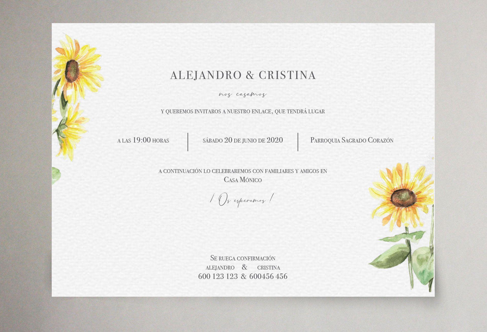 invitacion de boda con girasoles