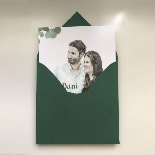 Invitación de boda personalizada con retrato de los novios dos terrones