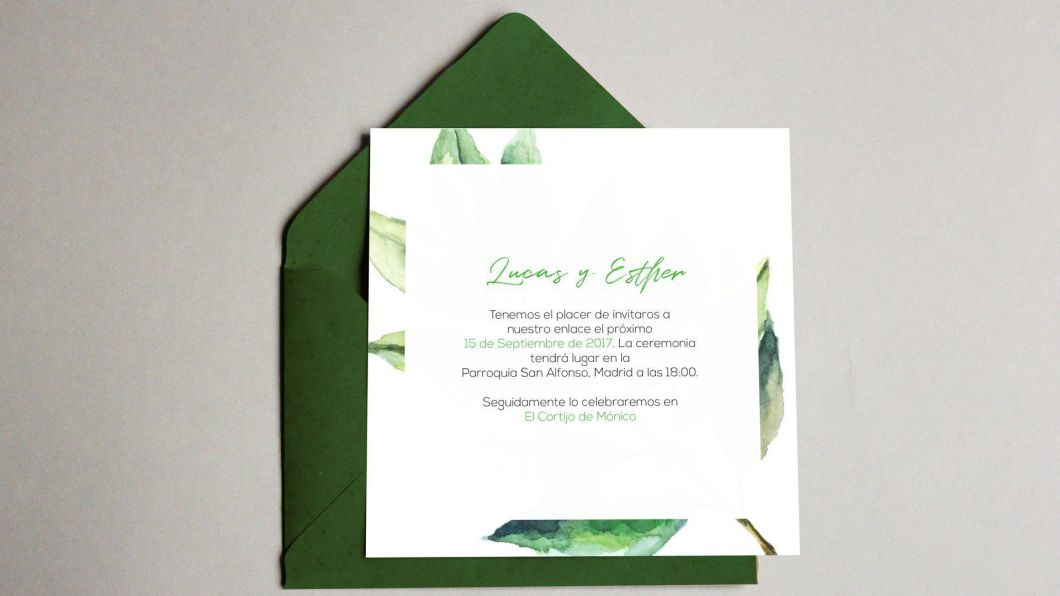 invitacion ed boda unica con acuarela para lucas y Esther