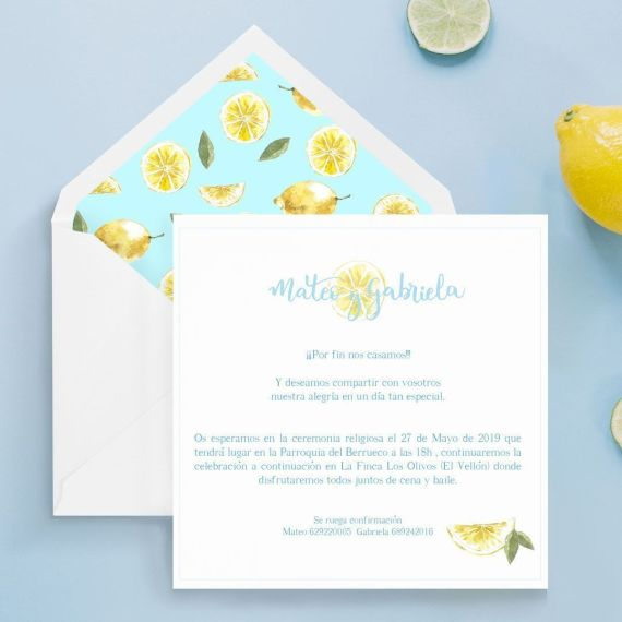 invitacion de boda artesana de limones creada por dos terrones