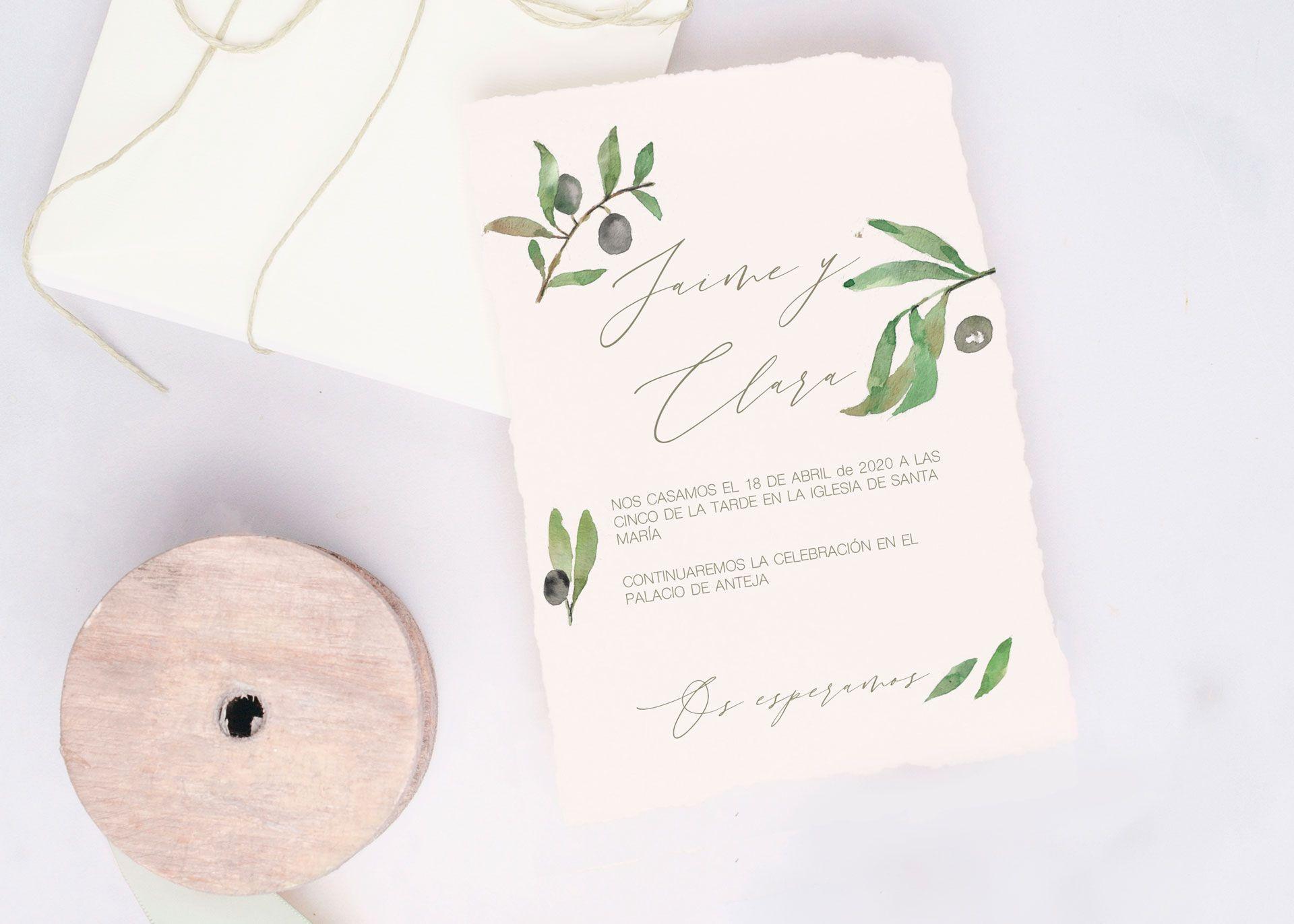invitación de boda olivo con papel de algodon hecho a mano