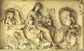 Panel of Ara Pacis Augustae,Rome;Italy,13-9BC.Marble These swans....
