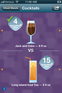 Weight Watchers' cocktail cheat sheet via its mobile app.