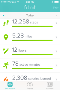 Today's Fitbit One data. Before 1:00 p.m. I walked over 12,000 steps and climbed 12 floors.  Not too frickin' bad!