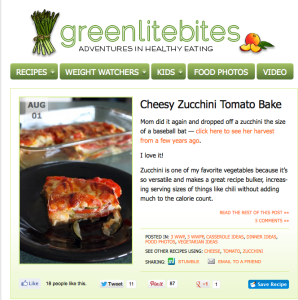 GreenLiteBites.com is a great resource for easy to make, healthy recipes. The recent Cheesy Zucchini Tomato Bake is officially one of my favorites.