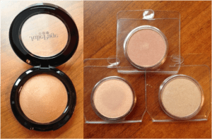 My new JuliePage baked bronzer – Fuji – and shadow (top, clockwise): Champagne, Sandstone and Sandy Peach.