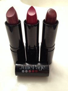 My new JuliePage lipsticks: Velvet Plum, Valentina and Vivid Crush. I love them all but right now Naked Grape is my go-to color.