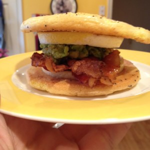 Eat your heart out Mickey D's!  My own low carb bacon, egg and guacamole mcmuffin.