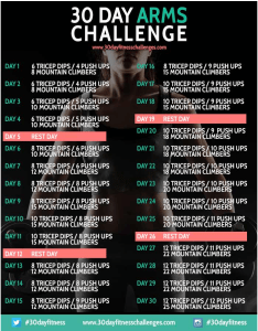 I'm taking the 30-Day Arms Challenge to make up some ground I lost during my April sabbatical and build upper body strength.
