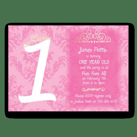 Princess First Birthday Invitation Dot And Bow