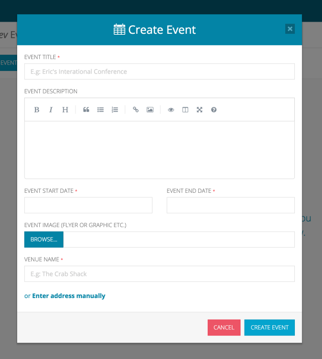 Create Event Form