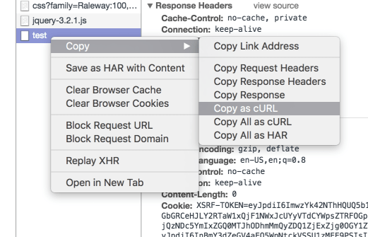 Copy cURL Request in Chrome