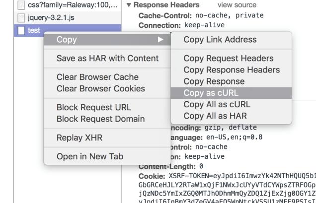 Copy cURL Request in Chrome