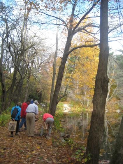 A group of mushroom hunters on a mushroom walk. Looks like they found something!