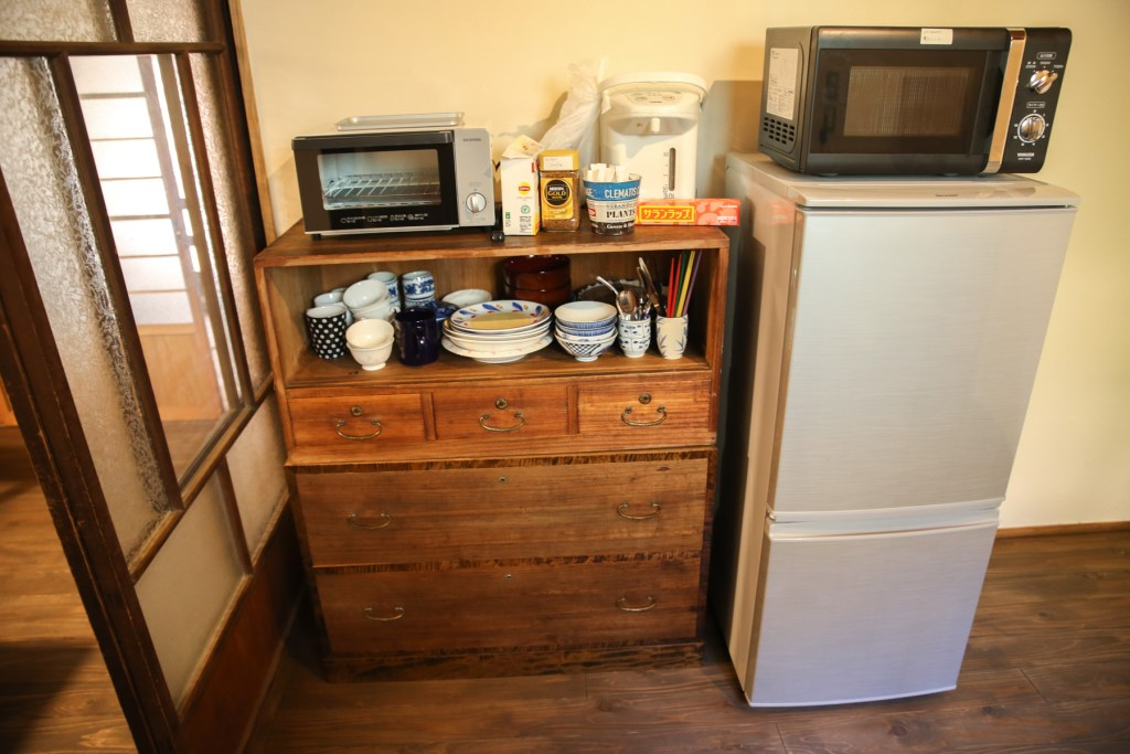 1F mini kitchen with free tea, coffee, sugar, milk