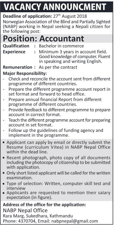 Accountant Job in Nepal 2018 in NABP Nepal