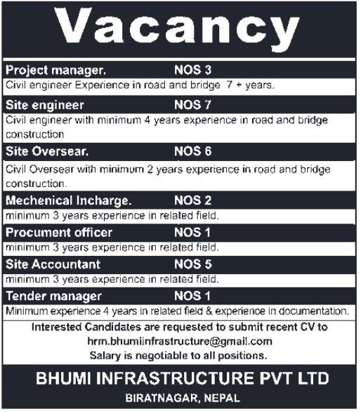 Bhumi Infrastructure Vacancy