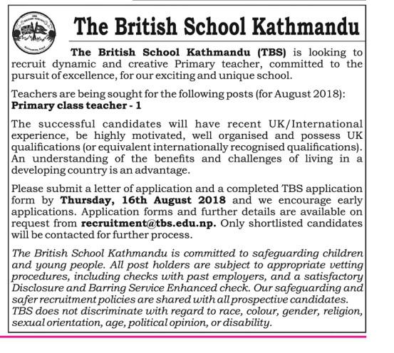 British School Kathmandu Vacancy
