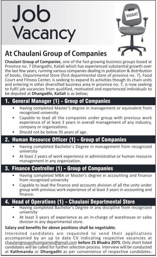 Chaulani Group of Companies Vacancy 2075