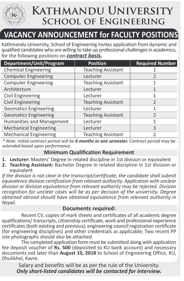 Kathmandu university vacancy 2075