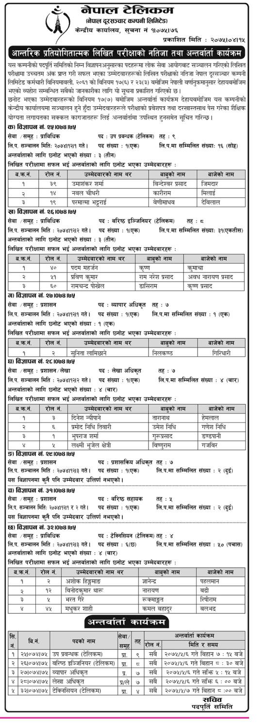 Nepal Telecom Internal Result