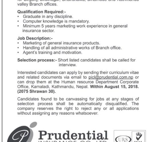 Prudential insurance vacancySchool Kathmandu Vacancy