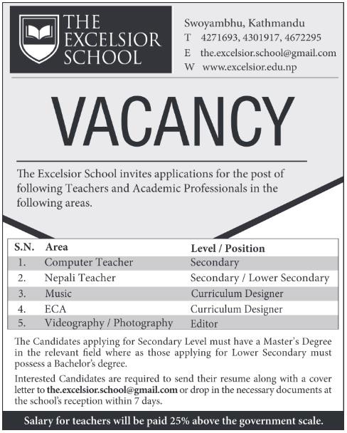 The excelsior school vacancy