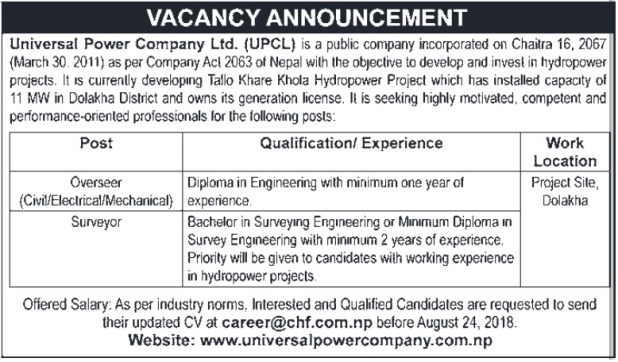 Universal Power Company Vacancy 2075