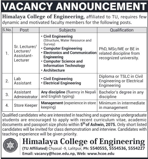 Himalayan College of Engineering Vacancy 2075